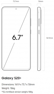 Samsung Galaxy S20+ Plus dimensions
